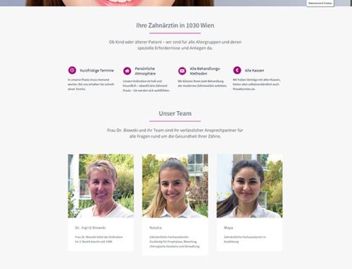 Neue Homepage für Zahnarzt Dr. Biowski in Wien