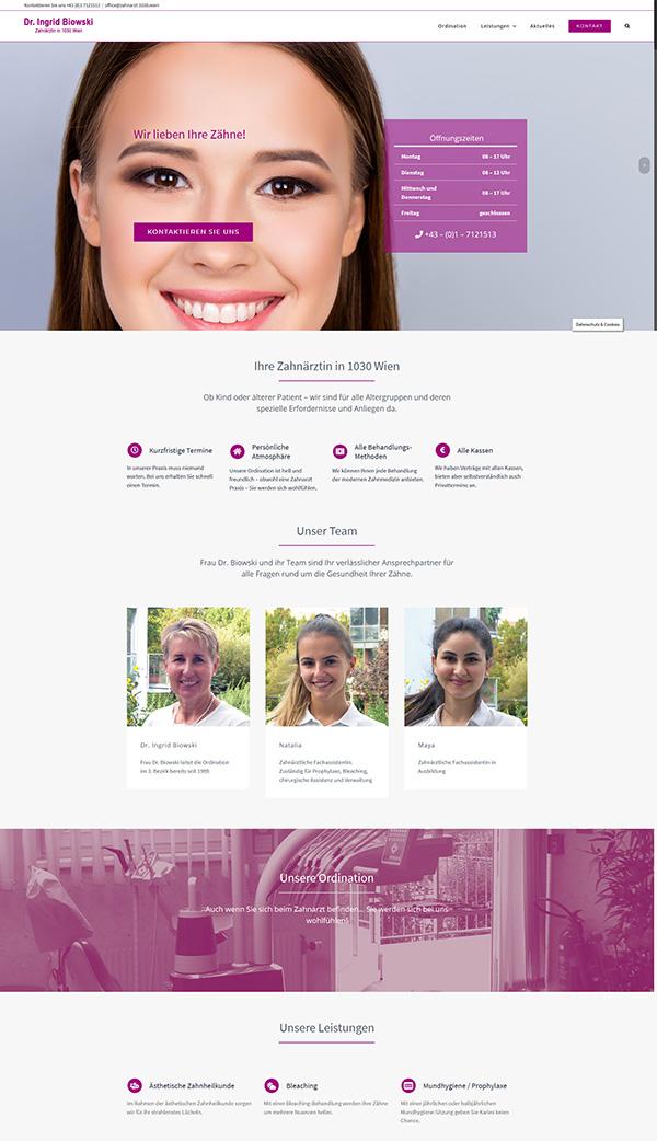 Neue Homepage für Zahnarzt Dr. Biowski in 1030 Wien