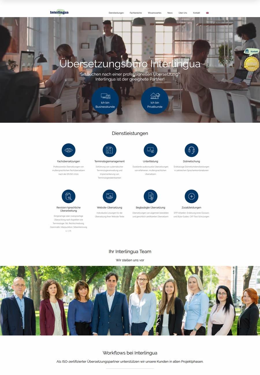 Neue Homepage für die Übersetzungsagentur Interlingua Wien