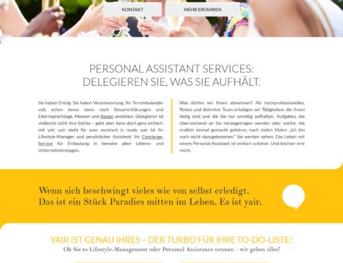 """SEO für das Personal Assistance Unternehmen """"YAIR"""""""