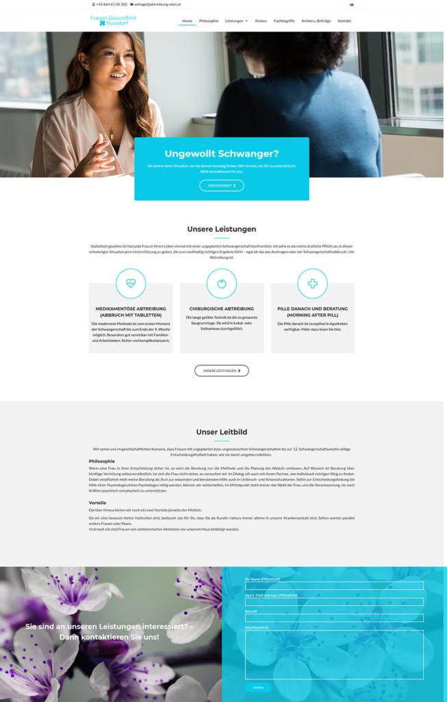 Neue Homepage für das Wiener INstitut Frauen.Gesundheit.Nussdorf
