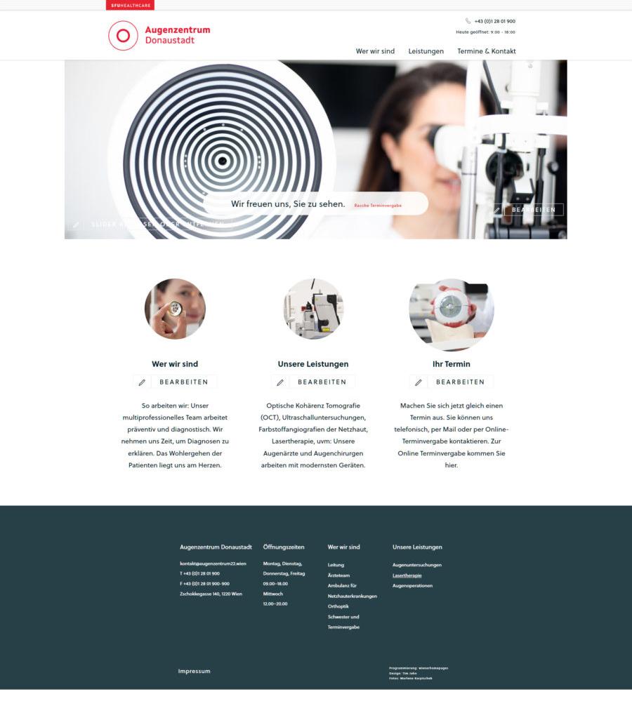 Homepage für Augenarzt / Augenzentrum Wien Donaustadt der SFU Privatuniversität