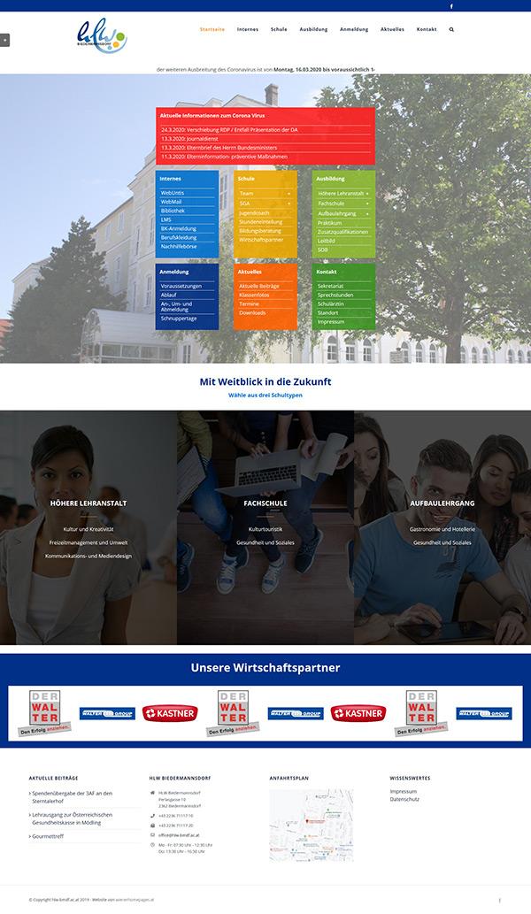 HLW Biedermannsdorf - neue Website 2020