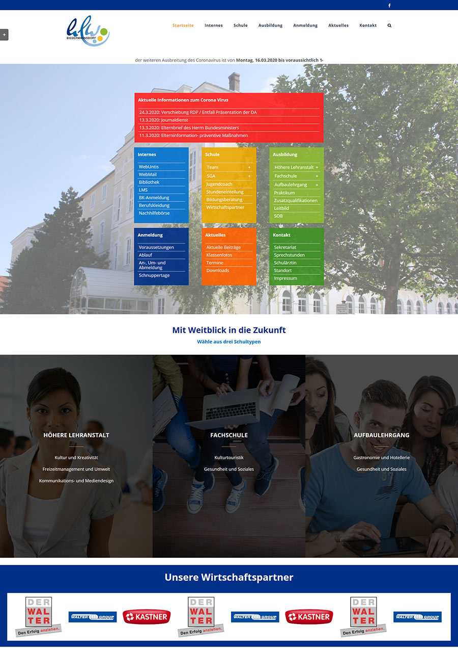 Screenshot HLW Biedermannsdorf, Website 2020