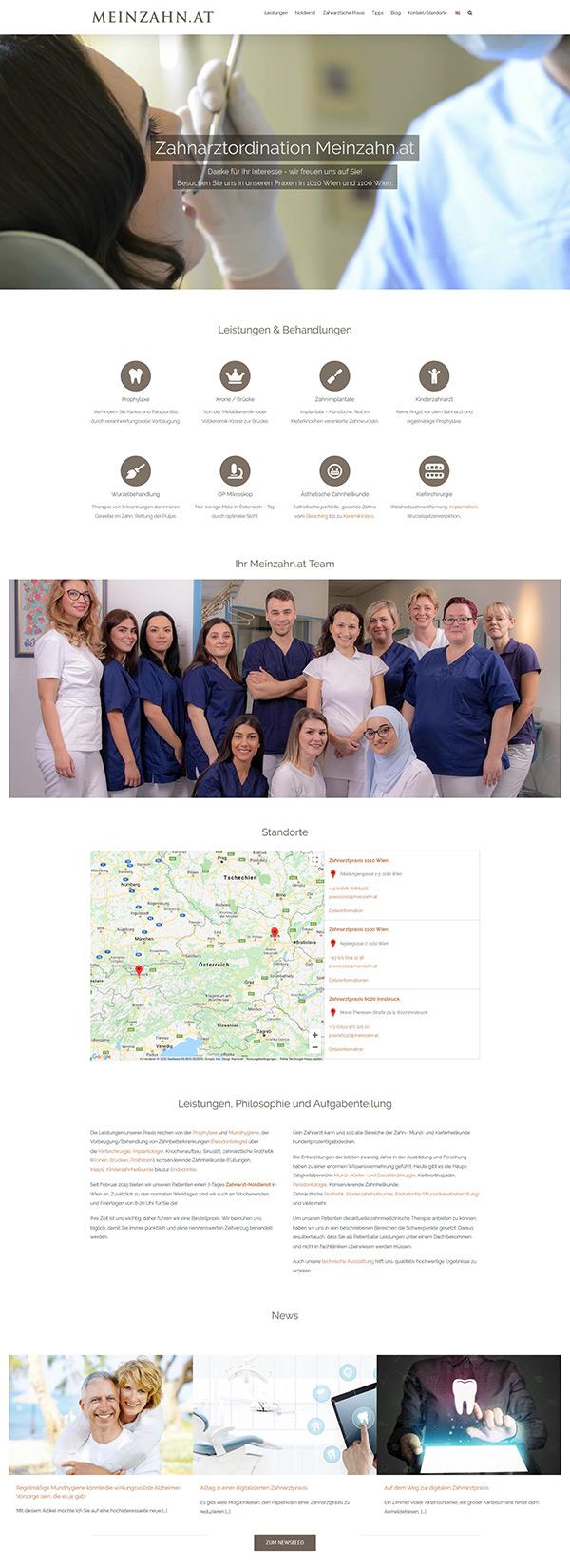 """Website für Zahnarzt Praxis """"Meinzahn"""" in Wien und Innsbruck"""