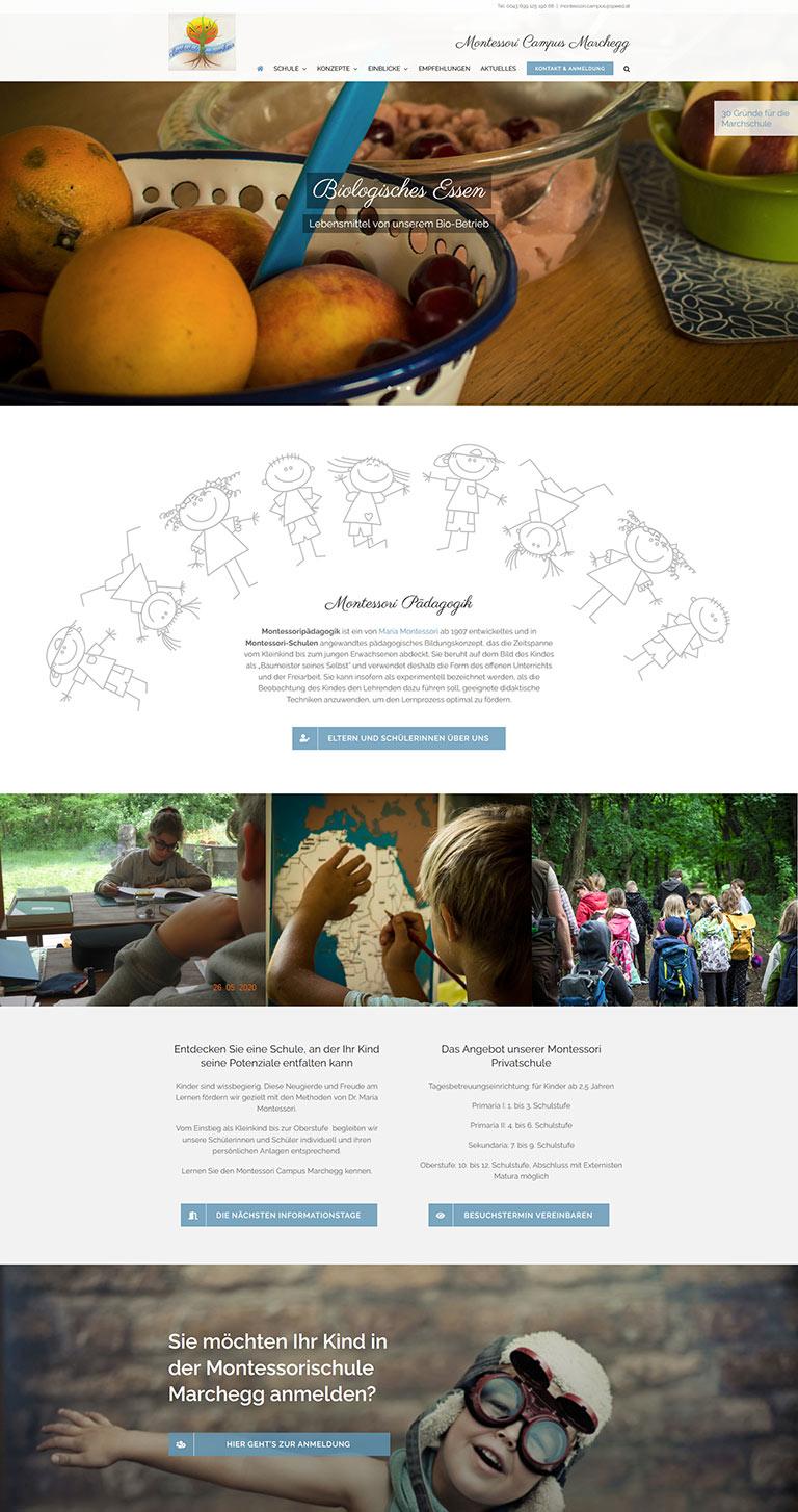 Schulhomepage für die Montessori Schule in Marchegg / Niederösterreich