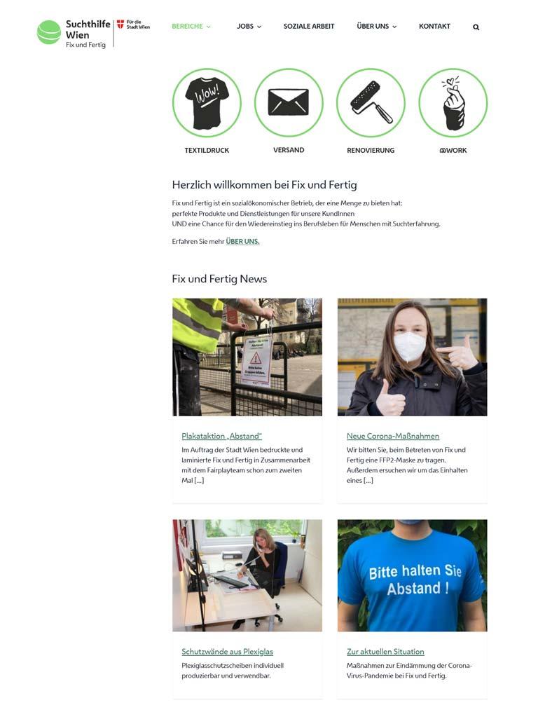 Homepage für FixundFertig, ein Projekt der Suchthilfe Wien