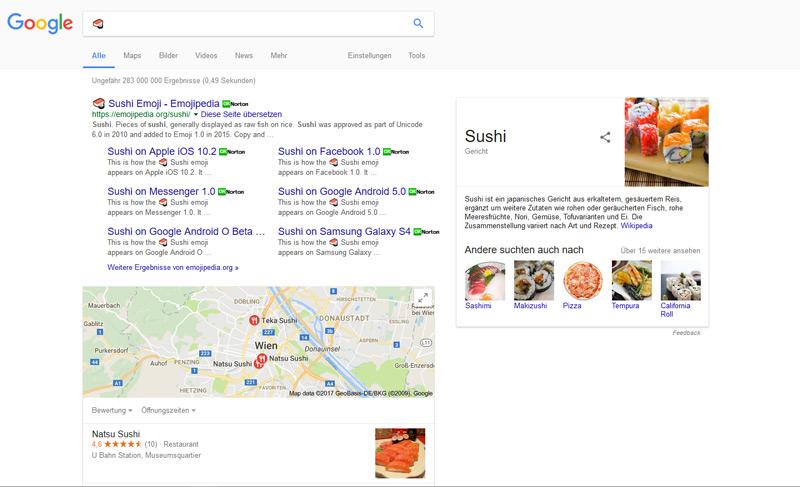 Google Suchergebnisse mit Emoji als Keyword