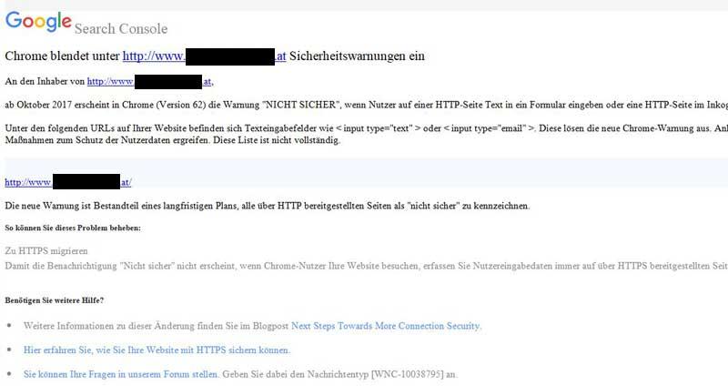 Sicherheitswarnungen unter Google Chrome auf Webseiten unter http