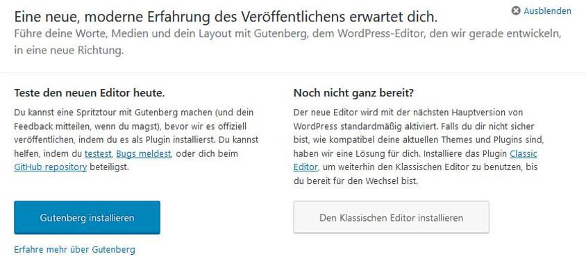 Screenshot des Backends im WordPress-Dashboard